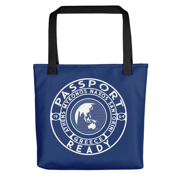 passport ready tote bag in the color navy blue