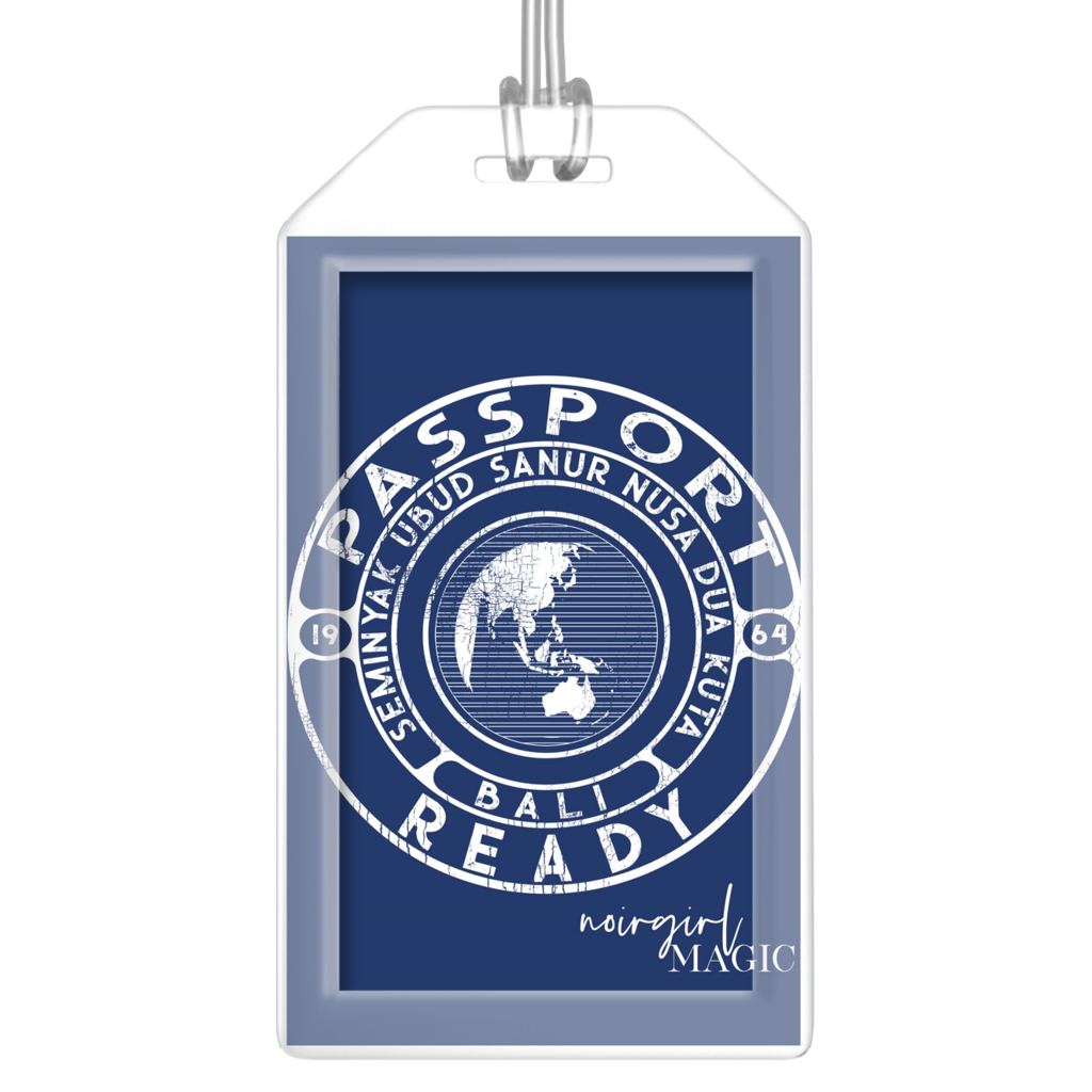 Passport Ready Bali Luggage Tags-Navy Blue
