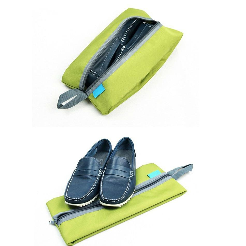 Portable Waterproof Travel Shoe Bag - Green w/shoes