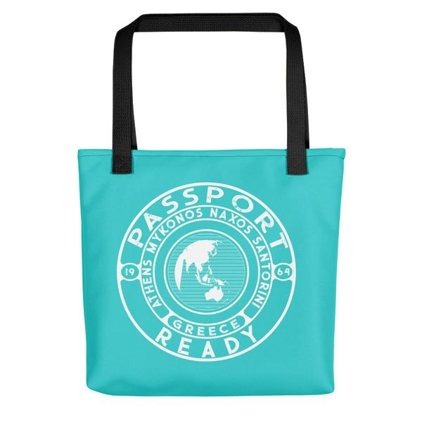 passport ready tote bag in the colors sea green blue