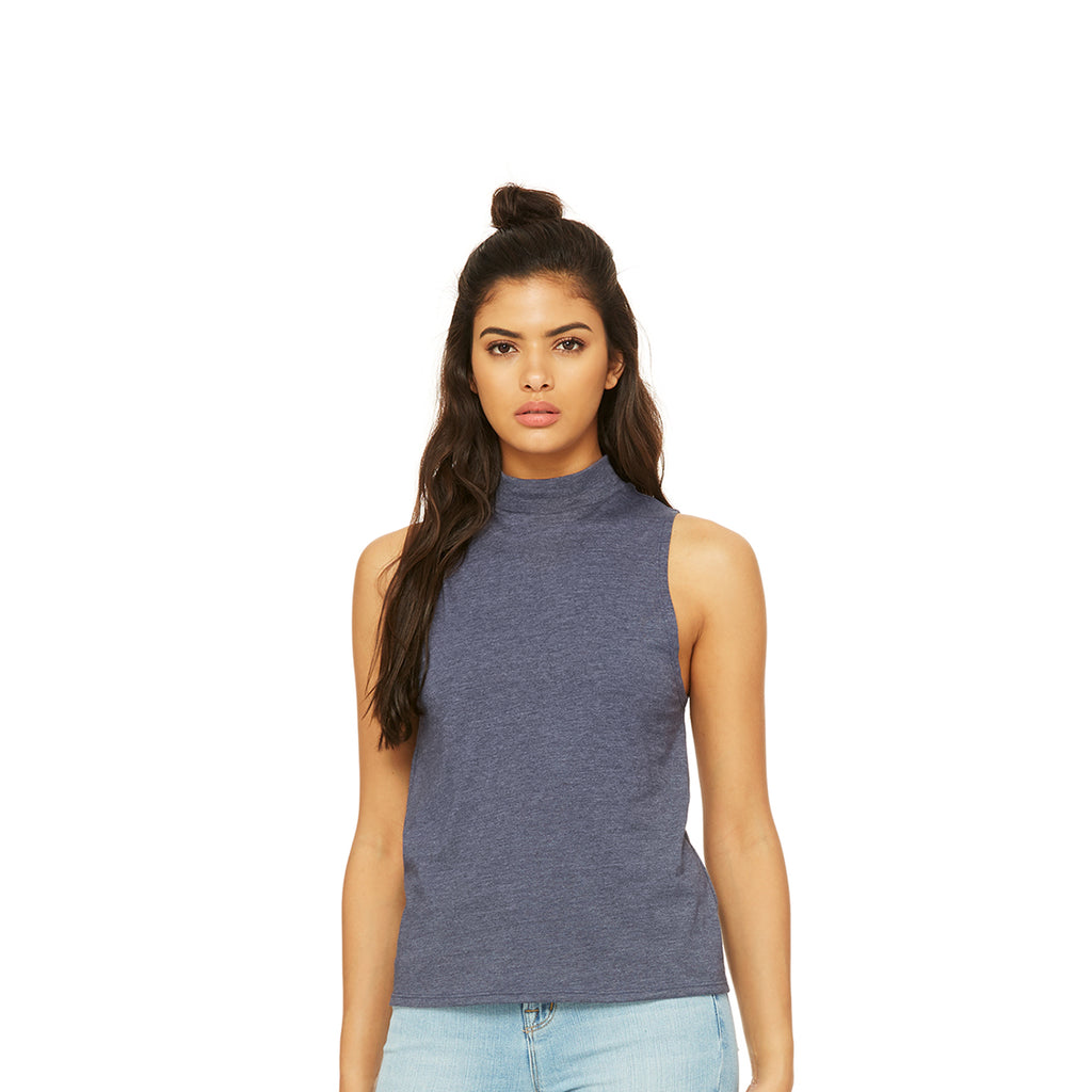 Mock Neck Tank Heather Navy