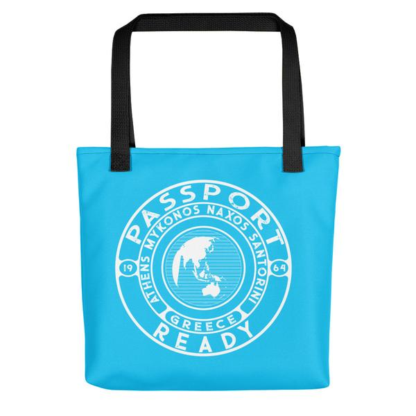 passport ready tote bag in the color sky blue