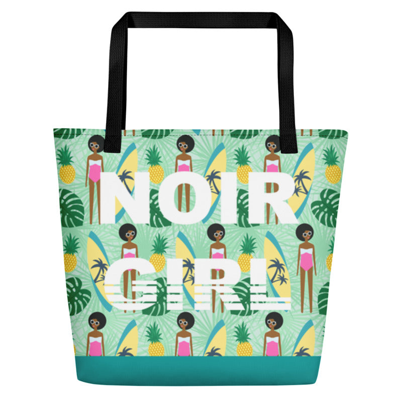 Noir Girl Surfer Girl Beach Bag Front