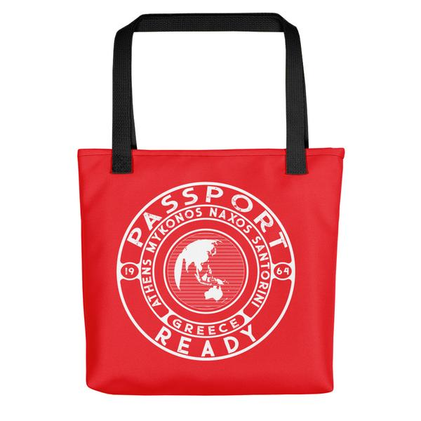 passport ready tote bag in the color tomato red