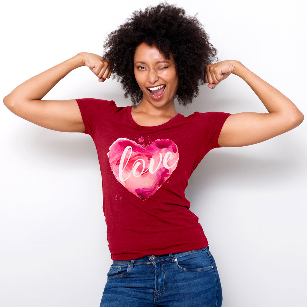 Watercolor Love Boyfriend Tee Model Solid Red
