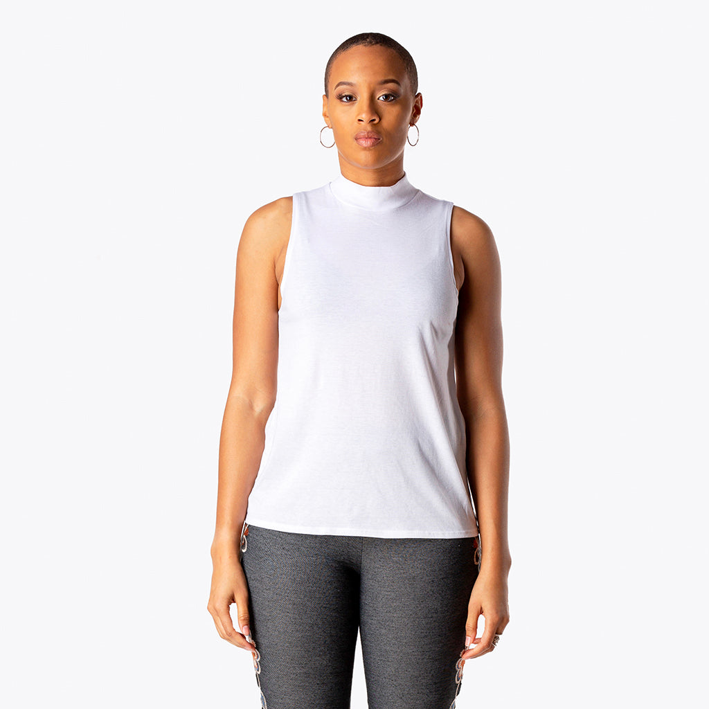 Mock Neck Tank White