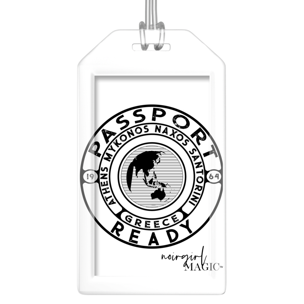 passport ready greece edition luggage tag white | Noir Girl Magic