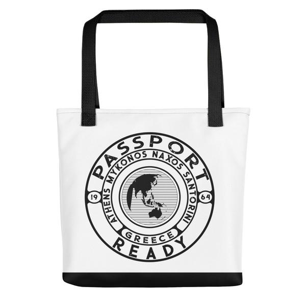 passport ready tote bag in the colors white and black