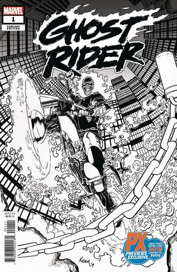 Ghost Rider (2019) # 1 PX NYCC Aaron Kuder B&W Variant