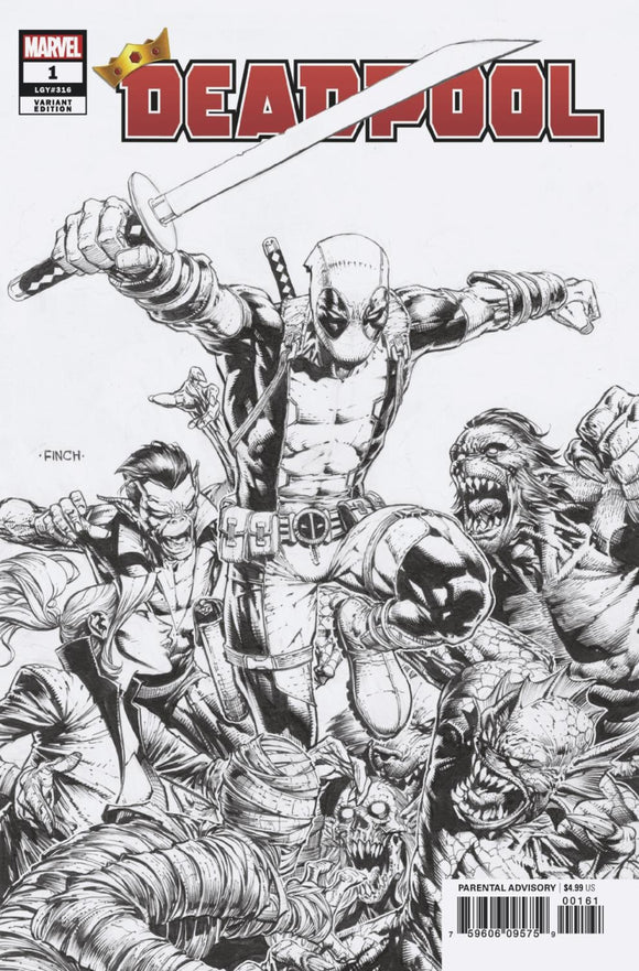 Deadpool (2019) # 1 David Finch B&W Variant