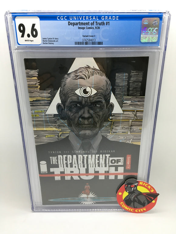 Department of Truth (2020) # 1 Declan Shalvey Variant CGC Graded 9.6