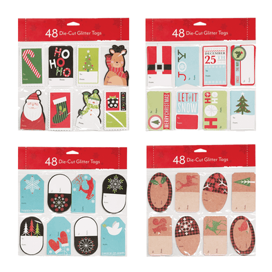 48 Count Die-Cut Glitter Tags