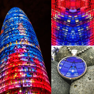Necklace - Resin Coated Pendant - Digital Art - Agbar Tower - Blue