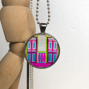 Silver Plated Necklace - Fuchsia and Green