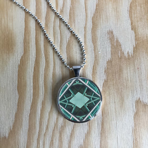 Silver Plated Necklace - Light Green