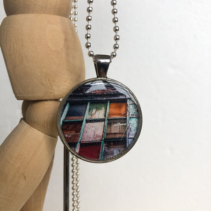 Silver Plated Necklace - Brown and Orange Pendant