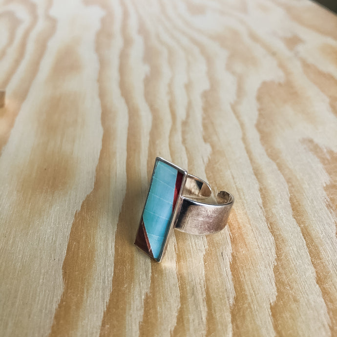 Sterling Silver Adjustable Ring - Red and Blue