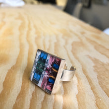 Sterling Silver Adjustable Ring - Square Havana Facade