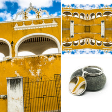 Keychain - Resin Coated - Digital Art - Mexican Colonial Building Yellow