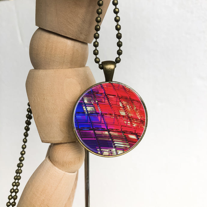Brass Necklace - Red and Blue Pendant