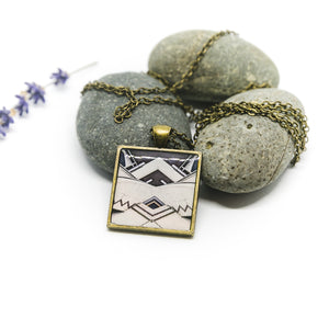 Necklace - Resin Coated Pendant - Digital Art - Buddhist Temple -Square