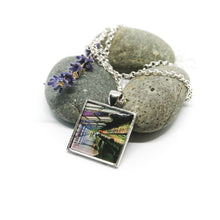 Necklace - Resin Coated Pendant - Digital Art - Chicago Airport - Square