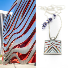 Necklace - Resin Coated Pendant - Digital Art - Petersen Museum Los Angeles - Square Light Blue