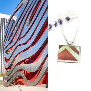 Necklace - Resin Coated Pendant - Digital Art - Petersen Museum Los Angeles - Square Red