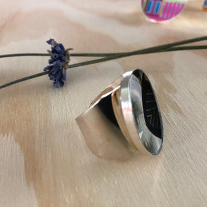 Sterling Silver Adjustable Ring - Metallic Facade