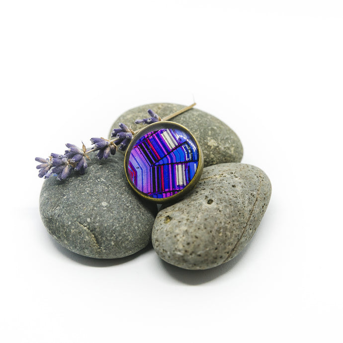 Adjustable Ring - Resin Coated - Digital Art - Agbar Tower - Purple
