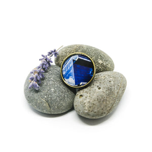 Adjustable Ring - Resin Coated - Digital Art - Quantum Tower - Blue