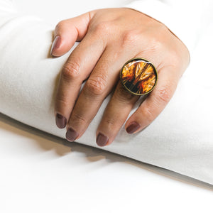 Adjustable Ring - Resin Coated - Digital Art - Museum of Pop Culture Seattle - Fire