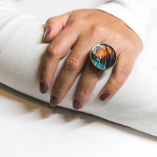 Adjustable Ring - Resin Coated - Digital Art - Museum of Pop Culture Seattle - Fire and Metal