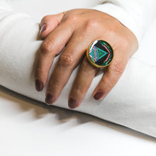 Adjustable Ring - Resin Coated - Digital Art -Korean Motive - Green