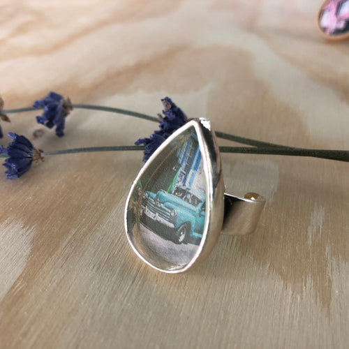 Sterling Silver Adjustable Ring - Tear Shape Havana Old Car