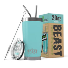 All 20 oz Greens Steel Beast Tumblers come with 2 stainless steel straws and straw cleaner