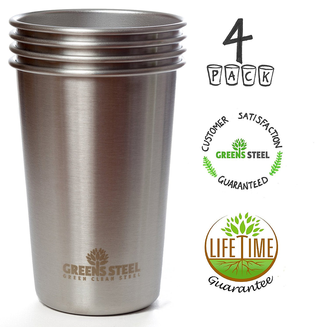 Stainless Steel 4 Pack Kids cups made by Greens Steel