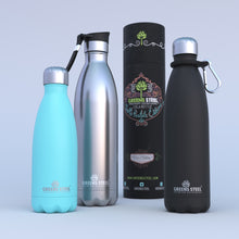 Greens Steel Stainless water bottles available in 12 oz, 17 oz and 25 oz
