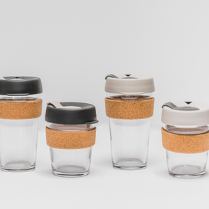 Reusable Glass Keep Cups 2 sizes with cork bands