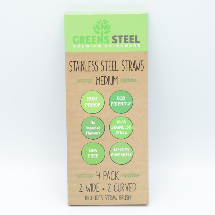 Greens Steel stainless steel straws 4 pack