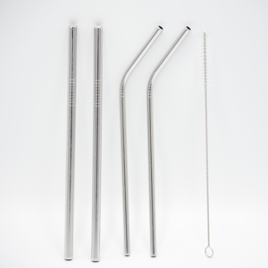 Greens Steel stainless steel 4 pack includes 2 straight straws, 2 curved straws and a straw cleaner