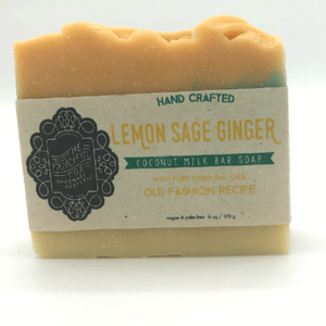 Vegan Palm Oil Free Bar Soap - Fanciful Fox - Lemon Sage Ginger