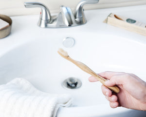 Our bamboo toothbrush is 100% compostable and is great for the environment