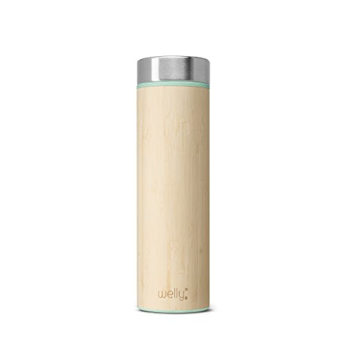 Welly Vacuum Insulated Infusing Stainless Steel Bamboo Water Bottle, Double Wall, Wide Mouth, BPA Free (Mint, 18oz)