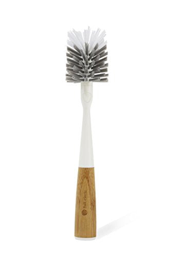 Full Circle Clean Reach Bottle Brush with Replaceable Bristle Brush Head, Bamboo Handle, White