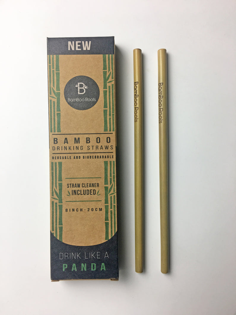 BamBoo Roots Bamboo Drinking Straws 12 Included Per Pack - Straw Cleaner Included