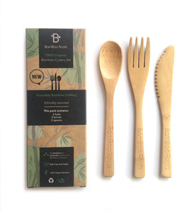 BamBoo Roots Cutlery, Utensils 6-Pack, 6 Inches – Includes Two Forks, Two Spoons, Two Knives