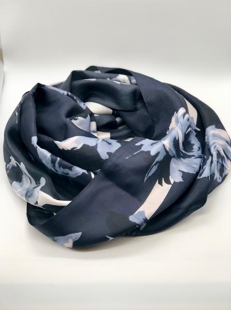 Kate Spade Night Rose Navy Rectangular Scarf