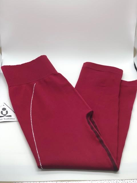 Phat Buddha Cranberry Crystal Accent Crop Leggings OS