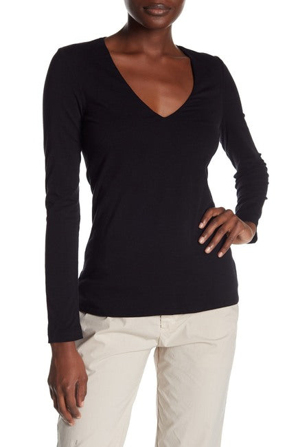 James Perse Black Long Sleeve V-Neck Tee